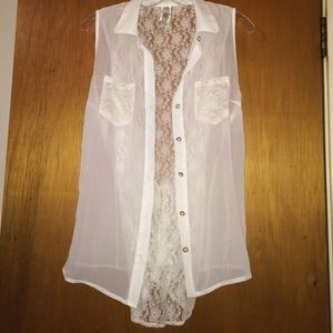 Tops - Angelic Gold Pearl Button Blouse (Size Large)