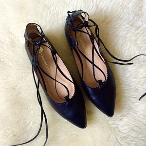 Black lace up ballet flats