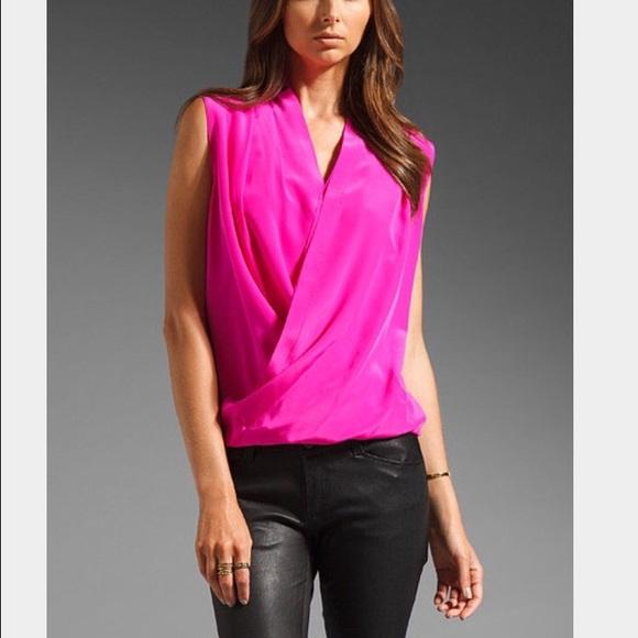 a78cdfb17f26 Amanda Uprichard hot pink crossover top