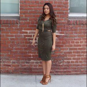 Faux suede Olive dress