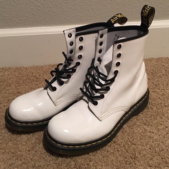 shiny white doc martens