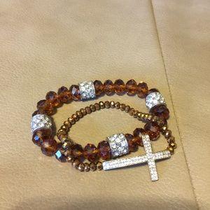 Jewelry - Pave Cross Bracelet & Topaz Crystal Pave Beads