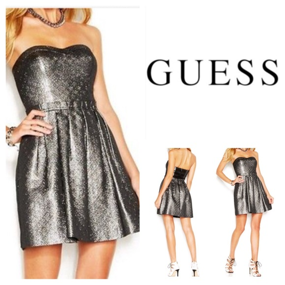 0d4aa545d1 Guess Silver Strapless Pleated Mini Dress. NWT.
