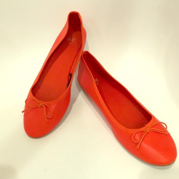 67% off H&M Shoes - Red Orange Ballet Flats from Lauren's closet ...