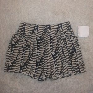 Pants - Brown black Animal Print culotte mini Shorts