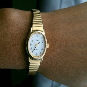 Women's Vintage look gold toned Timex watch