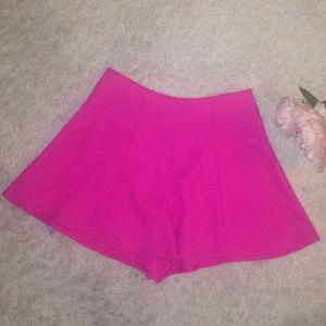 Pants - Bright Hot Pink Culotte Shorts