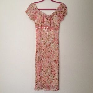 Vintage Pink Floral Midi Dress Babydoll Kawaii