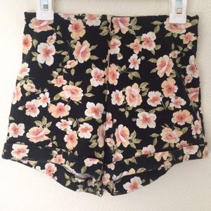 Floral High Waisted Cotton Shorts