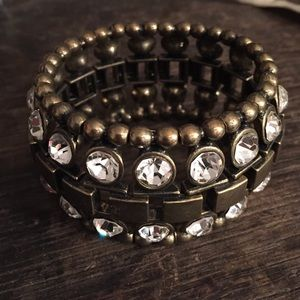 Brass stretch rhinestone bracelet