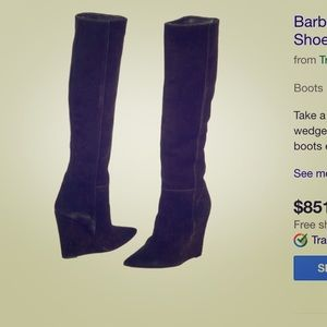 Barbara Bui black suede pointed wedge boots