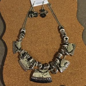 Silver Multi Chain and Faux Snakeskin Necklace