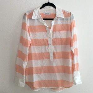 Equipment shirt with pink & white stripes