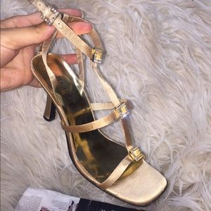 Shoes - Cheap Prom Heels | Gold Sandal Heel Sz 8