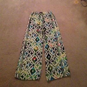 Boutique Tribal Wide Leg Print Pants M