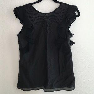 Black Greylin top with ruffle sleeves