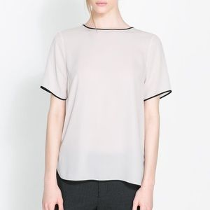 Zara light blush pink top
