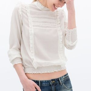 Zara Victorian boho shirt blouse