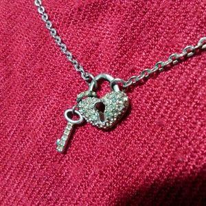 Swarovski Heart Lock & Key Necklace