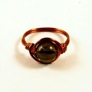 Jewelry - Smoky Black Brown Copper Wire Wrapped Ring Size 6