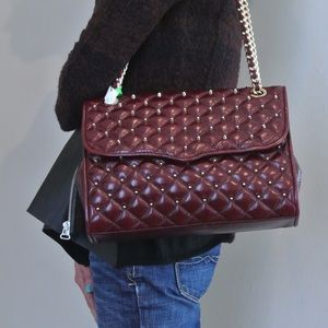 Rebecca Minkoff olive green quilted studded bag