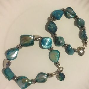 Jewelry - TWO Chunky Turquoise & Silver Bead Bracelets