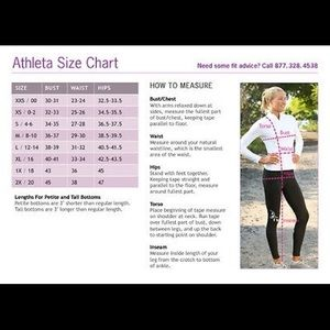 Athleta other sizing chart poshmark