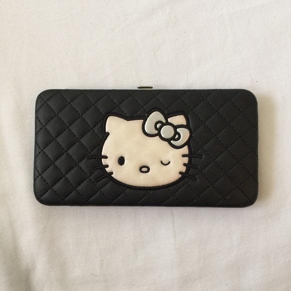 18d91133bd352 Hello Kitty Bags | Black Quilt Wallet | Poshmark