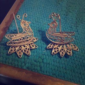 Beautiful brass vintage bird earrings