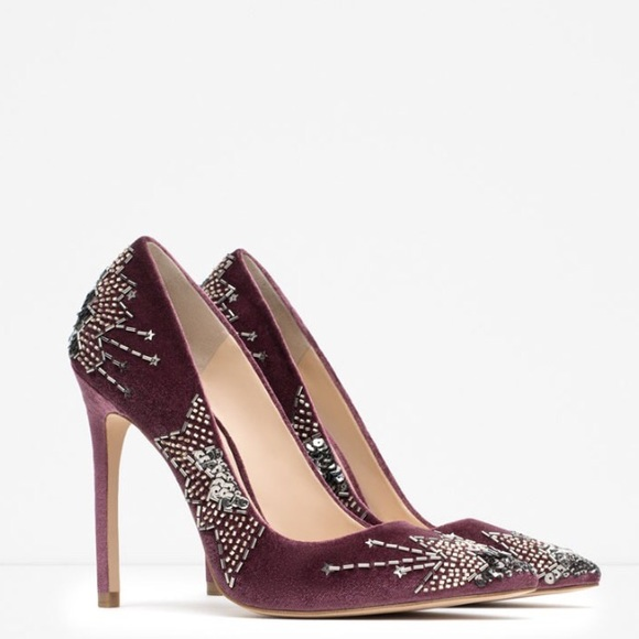 c17dba33ee8 NIB ZARA VELVET EMBROIDERED EMBELLISHED HIGH HEELS