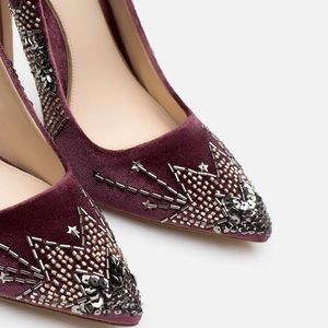 f5eebfb7122 Zara Shoes - NIB ZARA VELVET EMBROIDERED EMBELLISHED HIGH HEELS