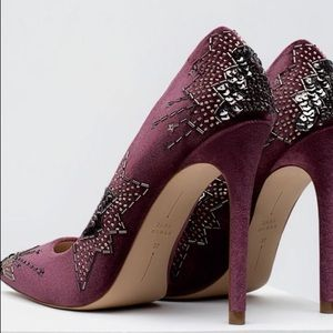 f5eebfb7122 Zara Shoes - NIB ZARA VELVET EMBROIDERED EMBELLISHED HIGH HEELS