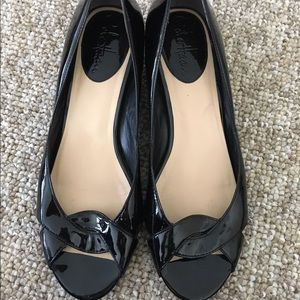 Black patent leather Cole Haan wedges size 7.5