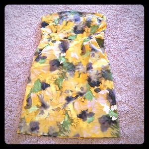 New York and company yellow strapless dress