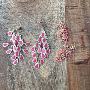 2 pairs of pink & gold earrings