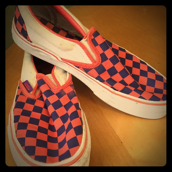 VANS purple and orange checkered shoes. M 56a91bc3b5643ed0d301527d 94c85fa22