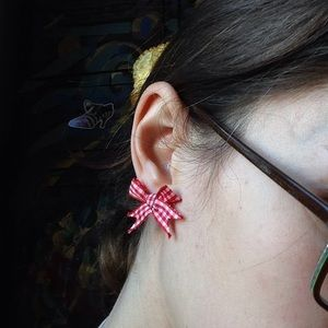 Hot Topic Jewelry - Red Picnic Ribbon Bow Stud Earrings