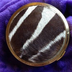 SOLD Animal Fur Compact Case Zebra Blush Powder