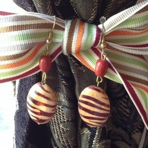 Wooden Handmade Zebra Print Tribal Earrings