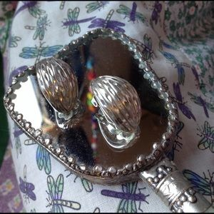 Vintage 925 Silver Textured Clip On Earrings