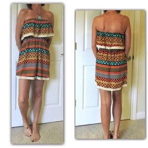 Dresses & Skirts - cute print strapless sundress S or M