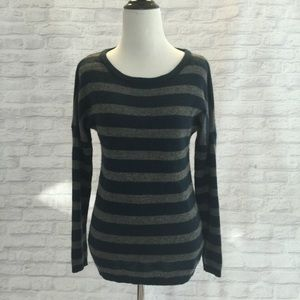 Line Sweaters - Navy Grey stripe cashmere sweater