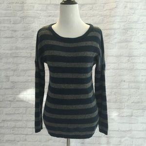 Navy Grey stripe cashmere sweater