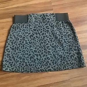 Black and gray leopard mini skirt