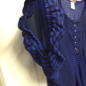 Trixxi Tops - Blue and black striped pheasant top