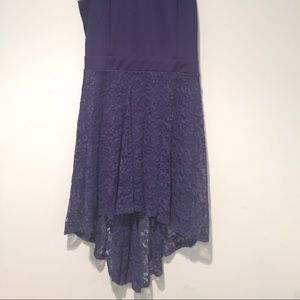 Dresses & Skirts - Blue high-low dress with lace bottom