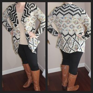 Aztec Geo Shawl Collar Sweater