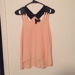 Pinkish cream top with faux leather straps