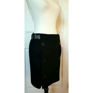 MAXMARA double button belted wool skirt