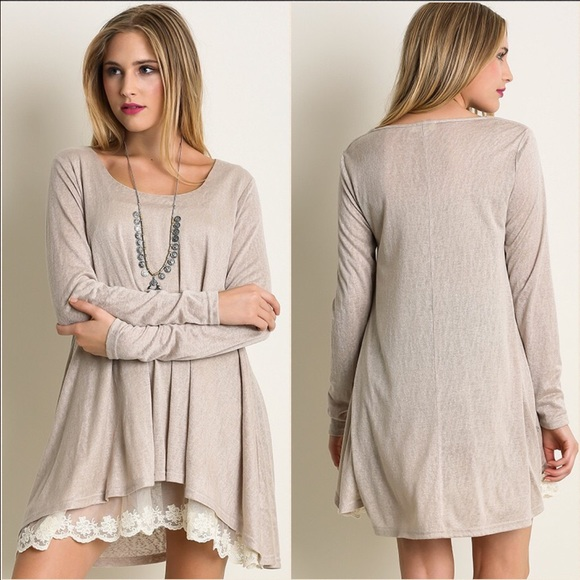 ValMarie Boutique Tops - ↗️Light Tan with lace tunic or mini dress